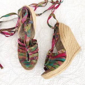 Sam Edelman Lexi Lace Up Espadrille Wedge Sandals